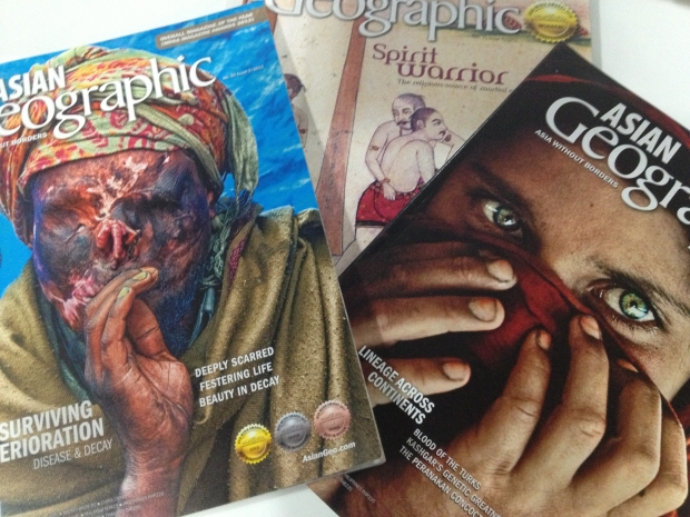 Here are a few of the more recent issues of Asian Geographic and where I'm working in Singapore.