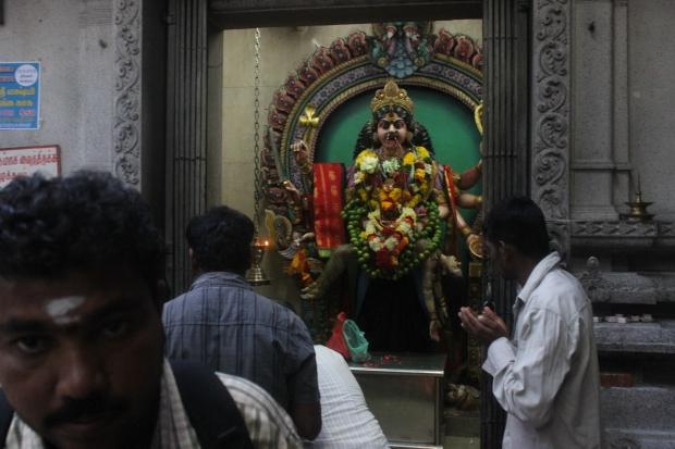 Hindus gather in large numbers at Sri Veeramakaliamman on Sundays.