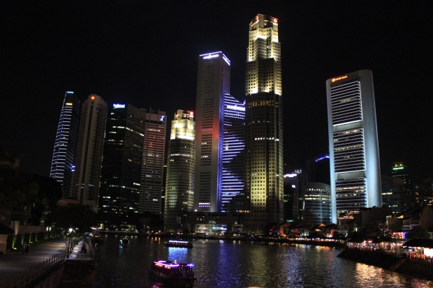 Downtown Singapore by night.