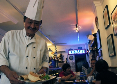 Henry shows off his famously delicious kebab at Istanbul Gourmet.