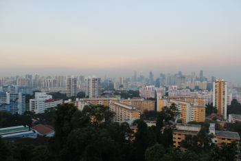 Panoramic view of Singapore's Central Region pre-sunset.
