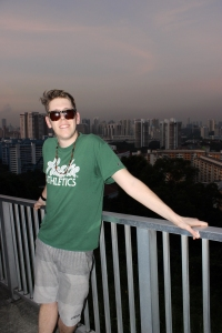A sweaty mess atop Mount Faber.