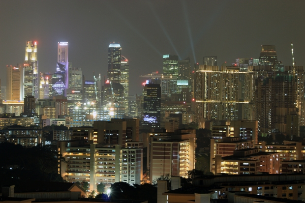 Day & Night over Central Singapore.