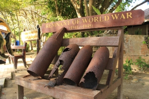 Evidence of Malaysia's involvement in World War II when Japan attacked Kota Kinabalu.