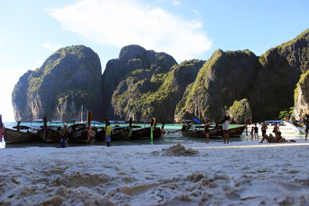 Maya Bay, a small island off the coast of Koh Phi Phi. We thought we'd escape the tourists here. We thought wrong.