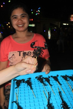 What's your sign? Scorpio. Black scorpions for sale as tasty little morsels on Khaosan Road.