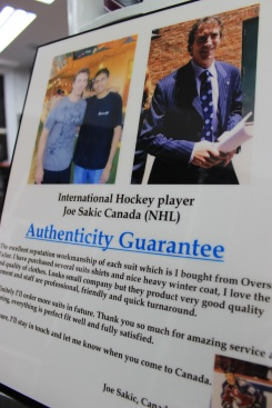 Joe Sakic's authenticity guarantee of Overseas' Tailor's suits.