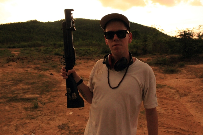Pop, lock & drop it. About to blast off a grenade launcher outside the capital of Cambodia.