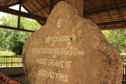 One of the mass burial sites at the Killing Fields, a place that claimed many Cambodian lives.