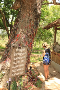 A tourist looks at tree where the Khmer Rouge would torture children at the Killing Fields.