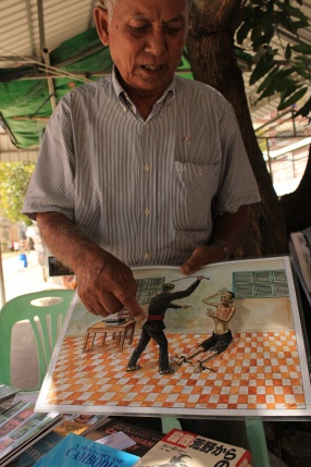 A tortured soul. Chum Mey explains how the Khmer Rouge tortured him.