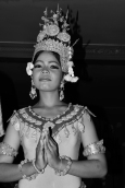 Dressed in traditional Cambodian dance attire, this girl performs for tourists at a bar in Siem Reap.