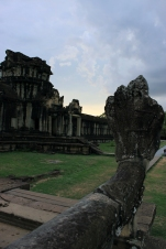 The ancient Khmer people carved stone cobras like this one across Angkor Wat.