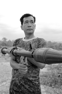 "This man, reportedly named, ""Number Two,"" is a curator of a military weapons range in Cambodia."
