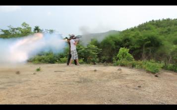 Blasting rockets in Cambodia.