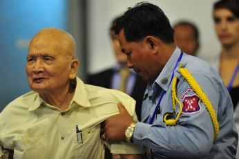 Nuon Chea during a Trial Chamber hearing on Jan. 31, 2011. Photo by ECCC via Flickr. www.eccc.gov.kh