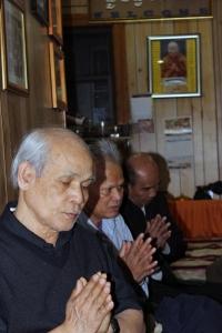These Cambodian men represent the majority age demographic of Wat Jotanaram.