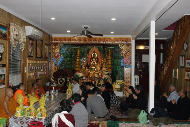 Wat Jotanaram's followers gather for worship on a Saturday evening.